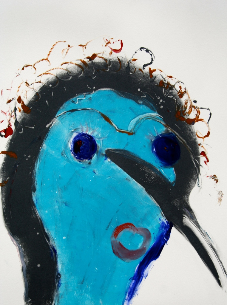 "Curly Bird©,30x22"""